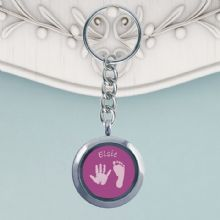 Circular Glass Double-Sided Hand and Foot Print Keyring - Coloured Background - Baby Handprints and Footprints Keepsake